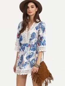Blue Paisley Print Lace Trimmed Dress
