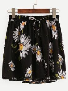 Black Daisy Print Drawstring Chiffon Shorts