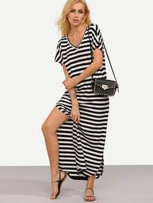 Black and White Striped V Neck Split Dress