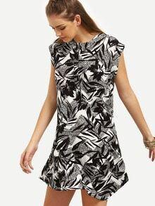 Black Print Cap Sleeve Shift Dress