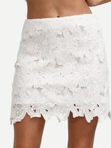 White Sexy Crochet Mini Skirt