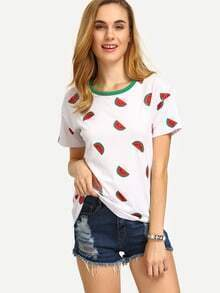 Multicolor Fruits Print Short Sleeve T-shirt
