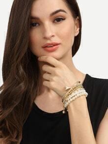 Pearl Alloy Bracelet Set - 6PCS