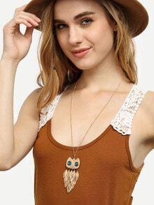 Golden Leaf Owl Alloy Pendant Necklace