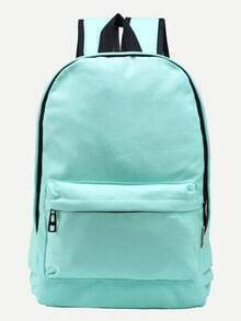 Mint Green Zip Closure Canvas Backpack