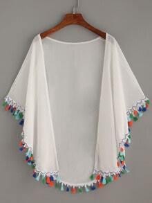 White Tassel Trimmed Chiffon Kimono