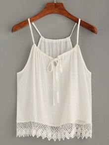 White Scalloped Crochet Trimmed Cami Top