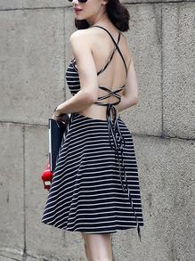 Black Striped Lace-Up Cami Dress