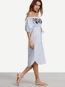 Blue Vertical Striped Off The Shoulder Embroidered Dress