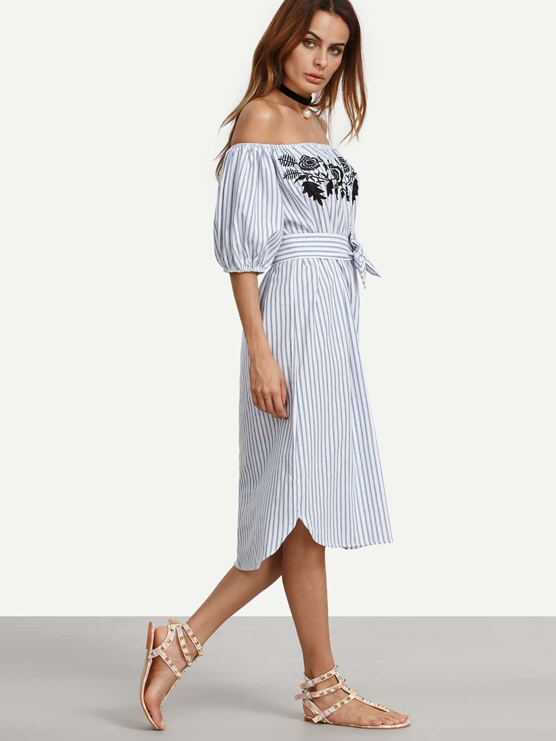 Blue Vertical Striped Off The Shoulder Embroidered Dress pictures