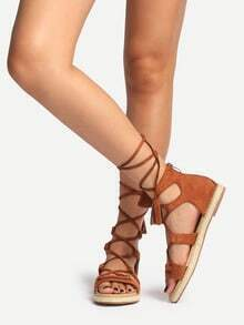 Brown Peep Toe Tassel Lace-up Sandals