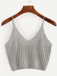 Grey Ribbed Knit Crop Cami Top