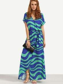 Color Block Striped Split Wrap Dress