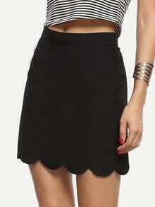 Black Scalloped Hem A-line Skirt