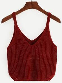 Burgundy Spaghetti Strap V Neck Kint Top