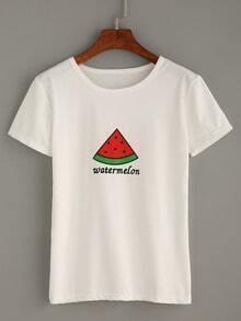 White Watermelon Print T-shirt