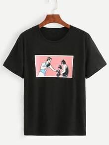 Black Boxing Print T-shirt