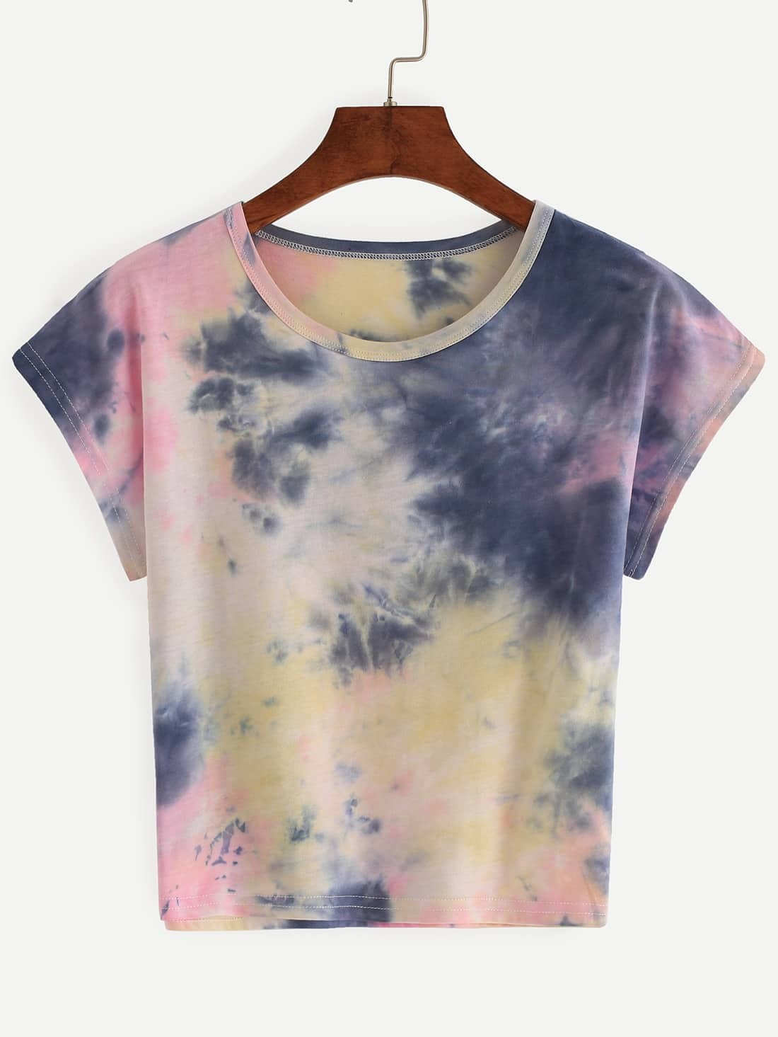 Color block tie dye t shirt emmacloth women fast fashion for Tie dye mens t shirts