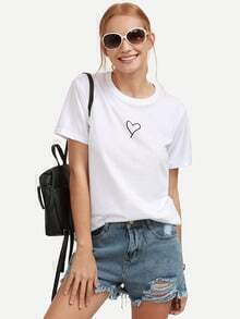 White Heart Print T-shirt