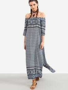 Blue Tribal Print Off The Shoulder Slit Dress