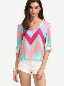 Colored Zig-zag Print Rolled-up Sleeve Blouse