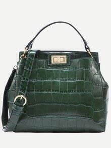 Green Crocodile Embossed Double Turnlock Satchel Bag