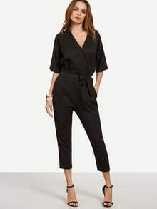 Black Surplice Front Self Tie Jumpsuit