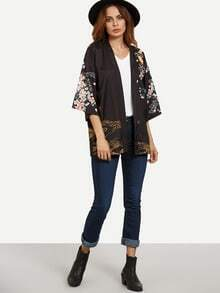 Black Fish and Flower Print Self Tie Kimono