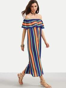 Multicolor Striped Off The Shoulder Ruffle Long Dress