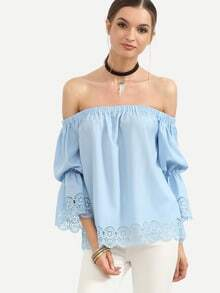 Blue Off The Shoulder Elasticated Blouse