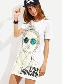 White Cartoon Print Slit Side Tshirt Dress