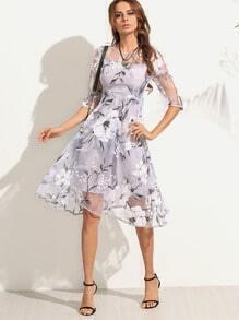 Flower Print Sheer Organza A-Line Dress