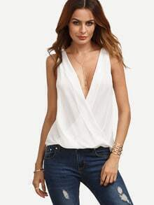 White V Neck Surplice Blouse