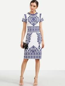 Blue Print in White Short Sleeve Sheath Dress
