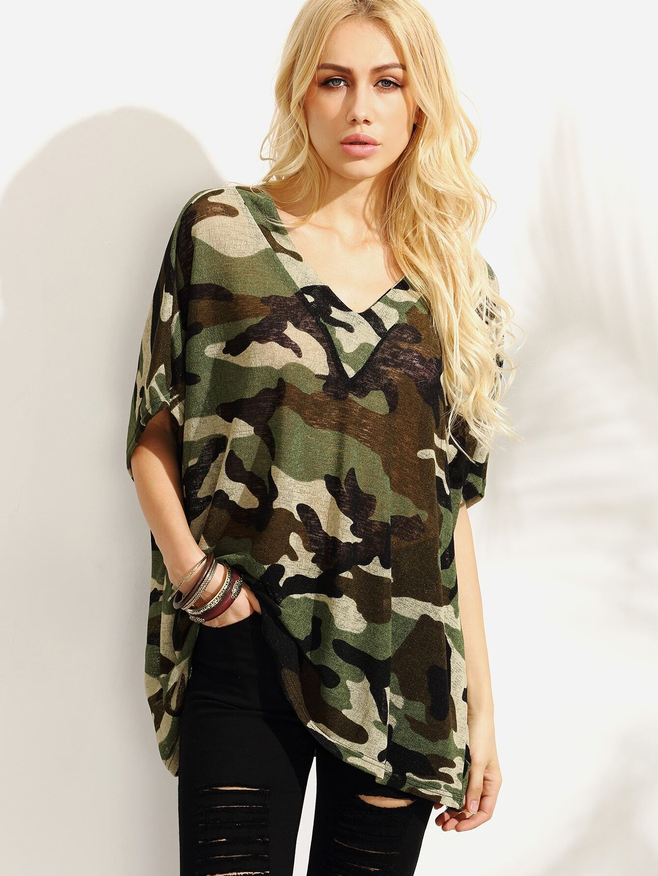 Olive Green Camo Print Oversized T Shirt Emmacloth Women
