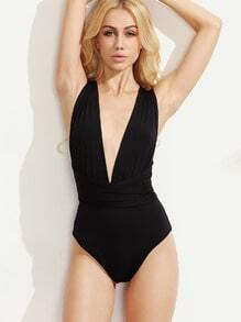 Black Plunge Neck Multiway Cross Wrap Bodysuit