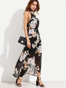 Black Flower Print Halter Neck Slit Chiffon Dress
