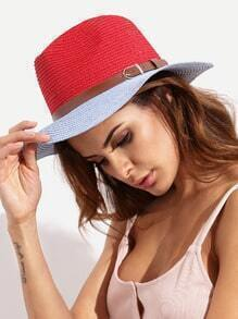 Colorblock Vacation Wide Brim Straw Hat