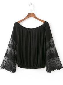 Black Bell Sleeve Off The Shoulder Smock Blouse