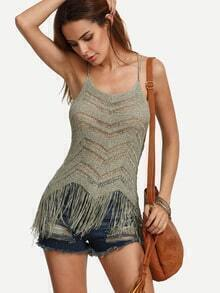 Army Green Fringe Hem Knitted Cami Top
