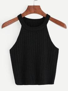 Black Knitted Tank Top