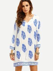 Blue Print in White Long Sleeve Shift Dress