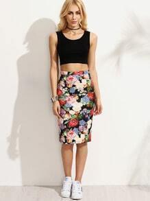 Multicolor Floral Skinny Skirt