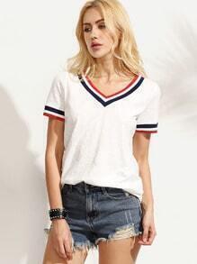 White Striped Trim V Neck Short Sleeve T-shirt