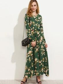 Green Blossom Print Buttoned Front Dress