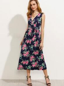 Navy Flower Print Surplice Front Self Tie Dress