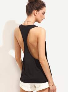 Black Drop Armhole Racerback Tank Top
