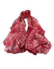 Red Flower Print Large Long Scarf