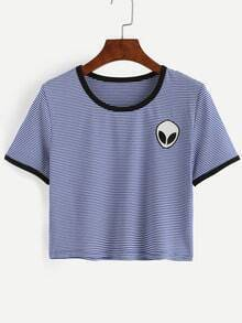 Blue Striped Saucerman Embroidered Contrast Trim T-shirt