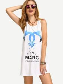 White Print Shift Tank Dress
